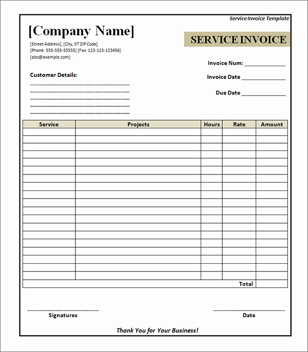 Free Editable Invoice Template Lovely Free 33 Printable Service Invoice Templates In Google