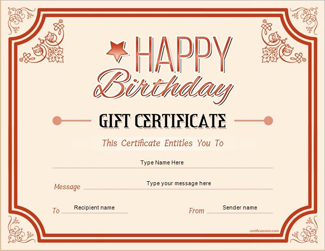 Free Gift Certificate Template Printable Awesome Birthday Gift Certificate for Ms Word Download at