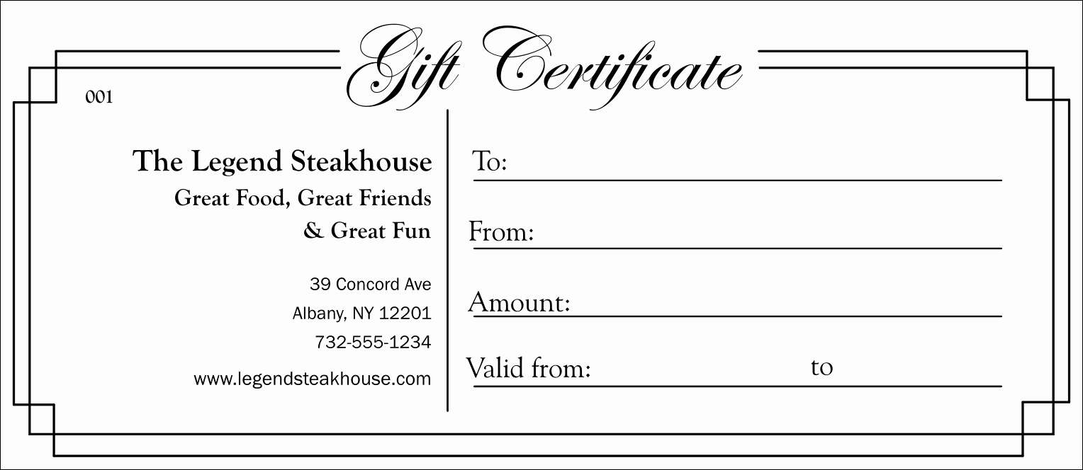 Free Gift Certificate Template Printable Elegant Black and White Gift Certificate 003