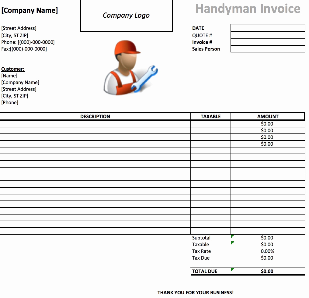 Free Handyman Invoice Template Awesome Handyman Invoice Template