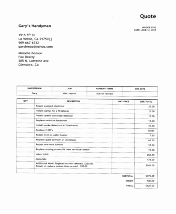 Free Handyman Invoice Template Fresh Handyman Invoice Template – Emmamcintyrephotography