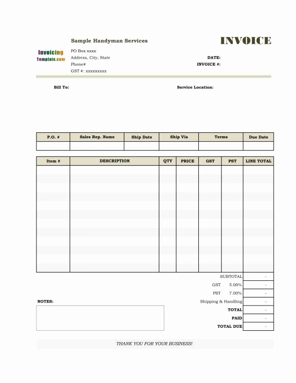 Free Handyman Invoice Template New Free 12 Handyman Invoice Templates In Pdf Ms Word