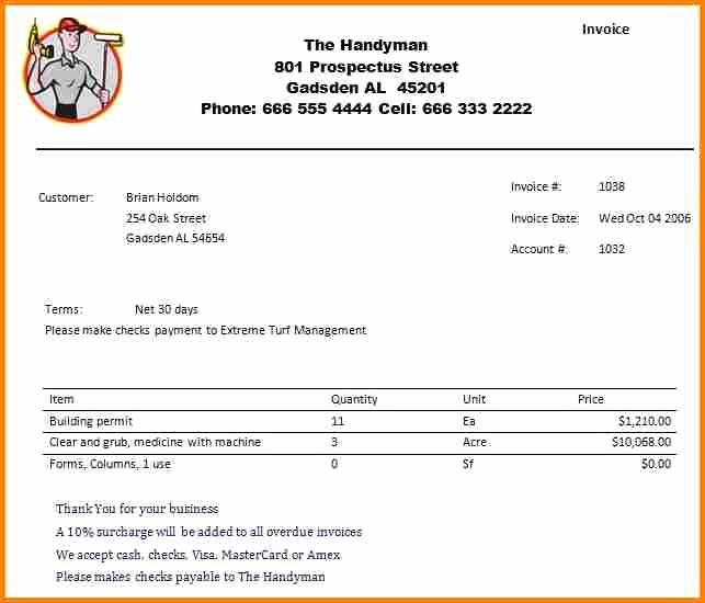 Free Handyman Invoice Template Unique 6 Handyman Invoice Template Invoice Term