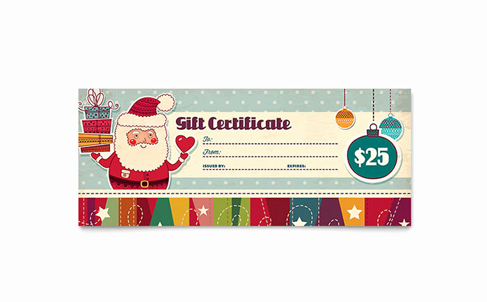 Free Holiday Gift Certificate Template Awesome Retro Santa Gift Certificate Template Design