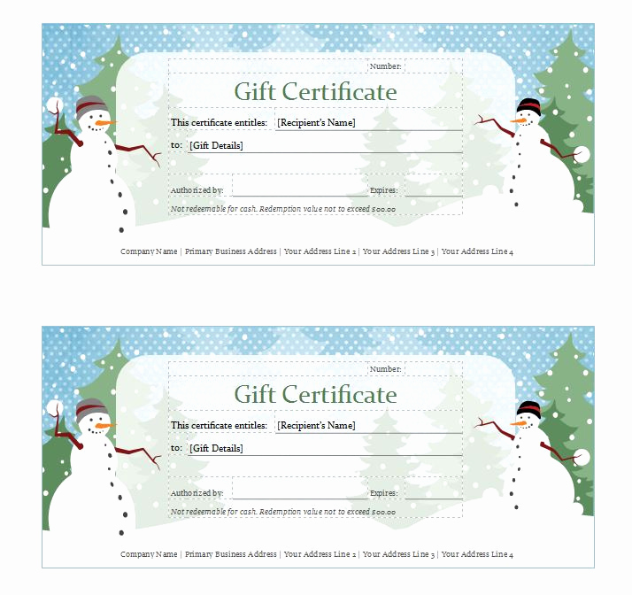 Free Holiday Gift Certificate Template Beautiful Holiday Gift Certificate Template