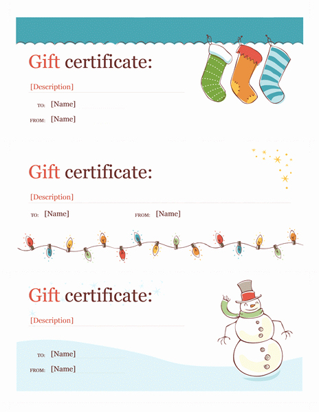 Free Holiday Gift Certificate Template Beautiful Holiday T Certificates Christmas Spirit Design 3 Per