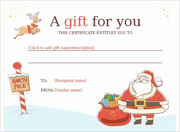 Free Holiday Gift Certificate Template Inspirational Christmas Gift Certificate Template 11 Word Pdf