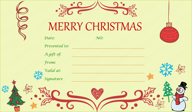 Free Holiday Gift Certificate Template Inspirational Printable Christmas Gift Certificate Template