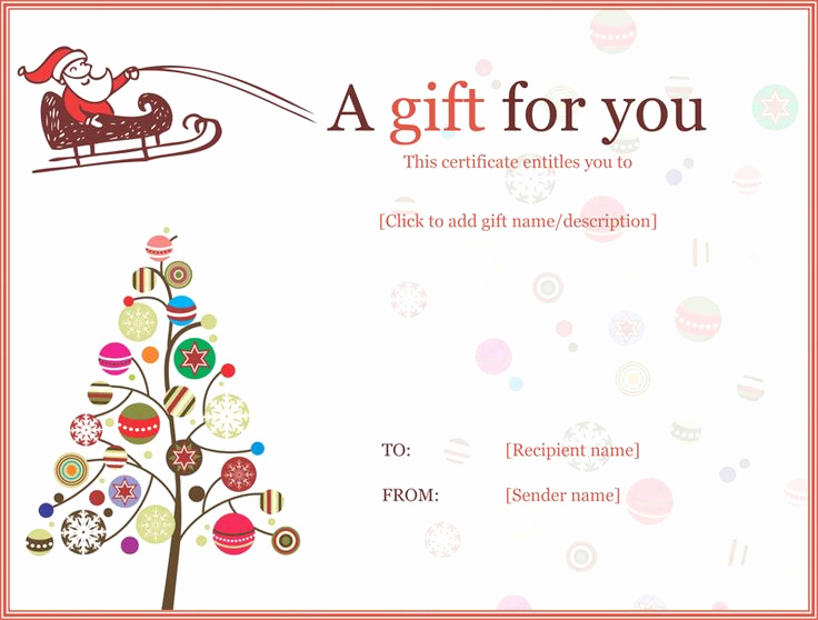 Free Holiday Gift Certificate Template New Christmas Ball Trees Gift Certificate Template
