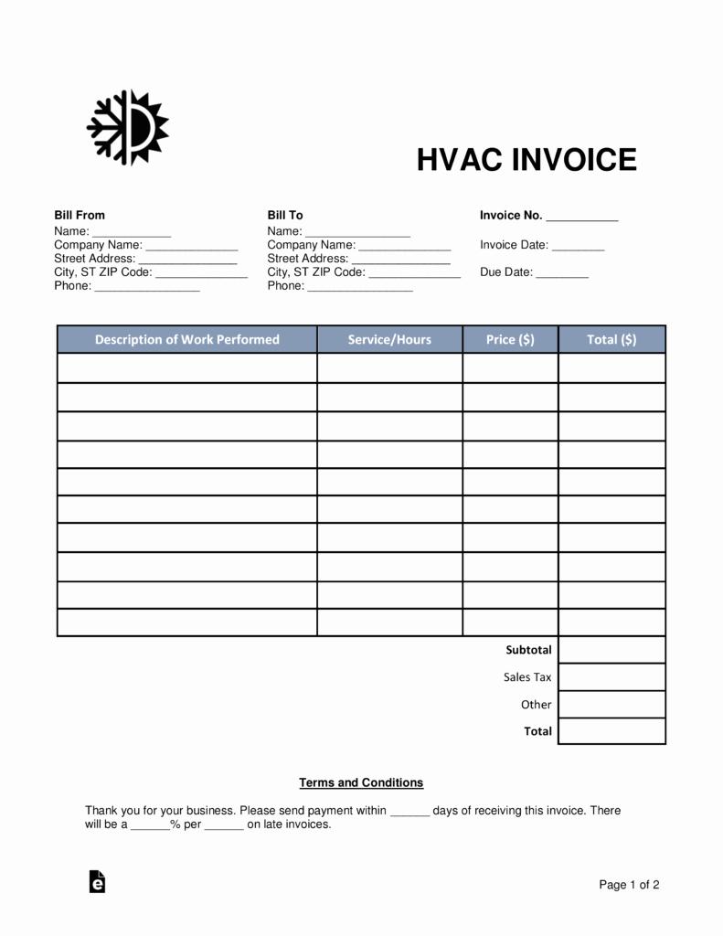 Free Hvac Invoice Template Beautiful Free Hvac Invoice Template Word Pdf
