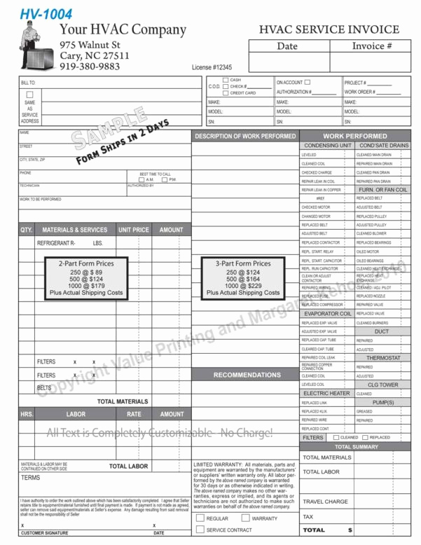 Free Hvac Invoice Template Lovely Hvac Invoice Template Spreadsheet Templates for Busines