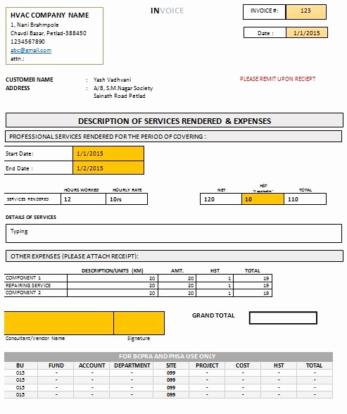 Free Hvac Invoice Template Luxury Hvac Invoice form Free Download