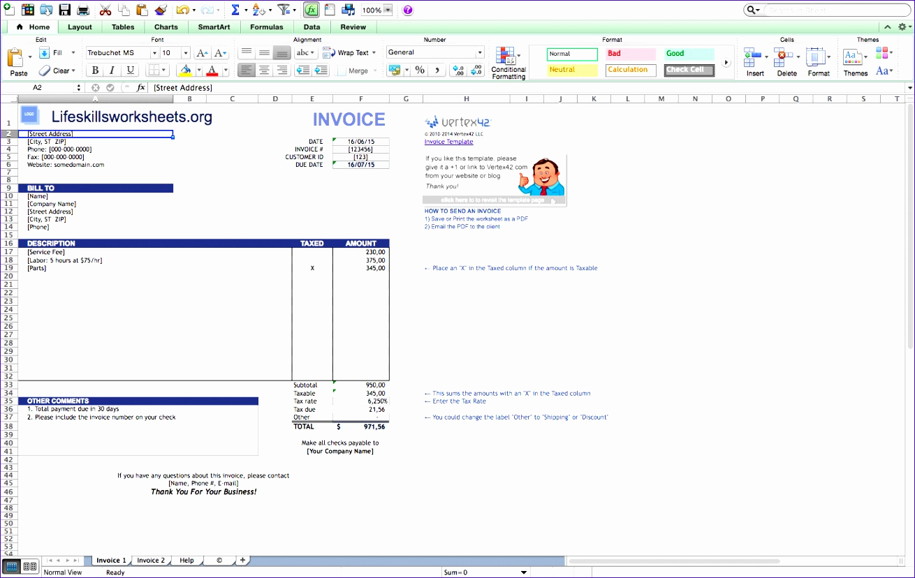 Free Invoice Template for Mac Fresh 12 Excel Invoice Template for Mac Exceltemplates