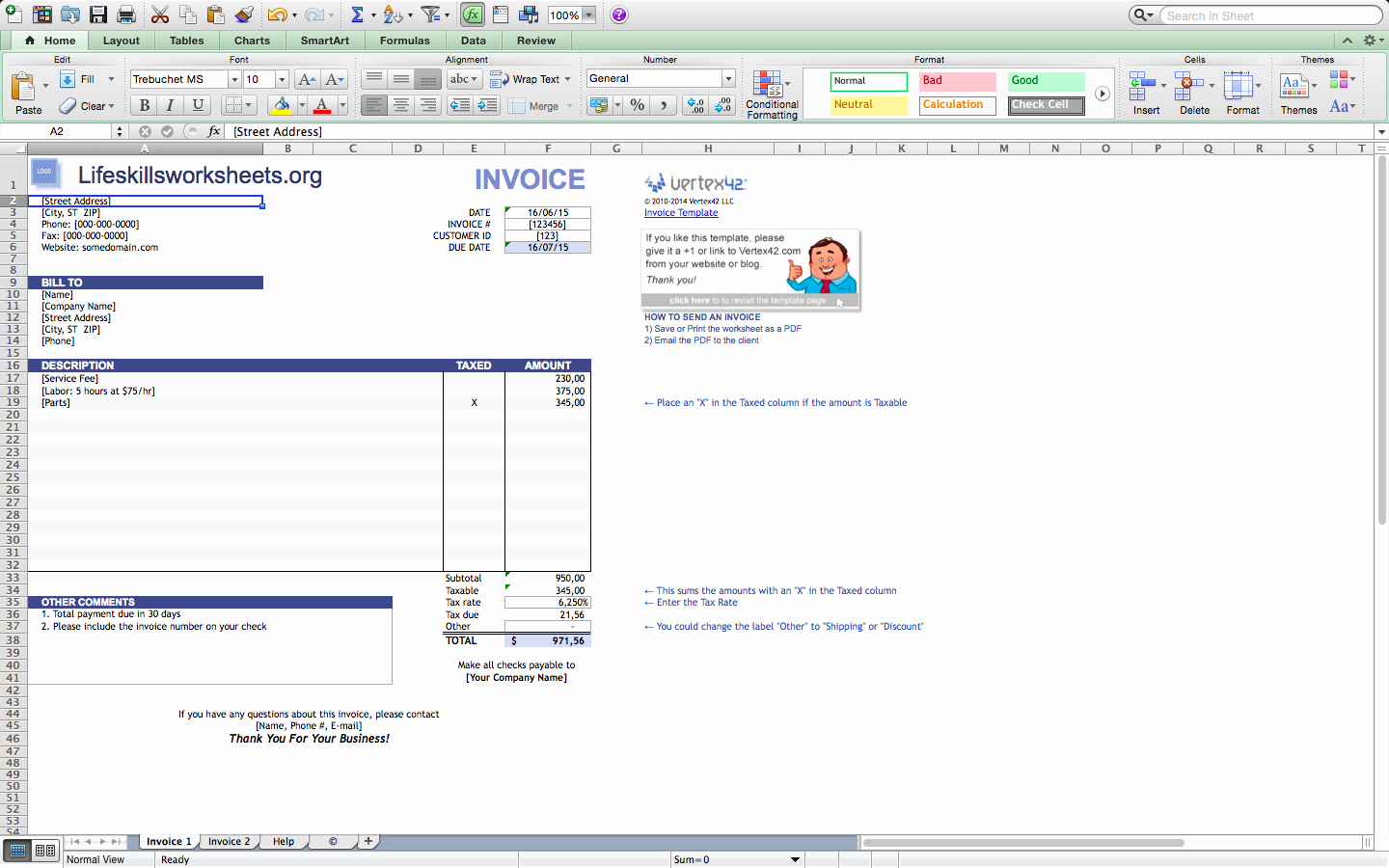 Free Invoice Template for Mac New Invoice Template Excel Mac