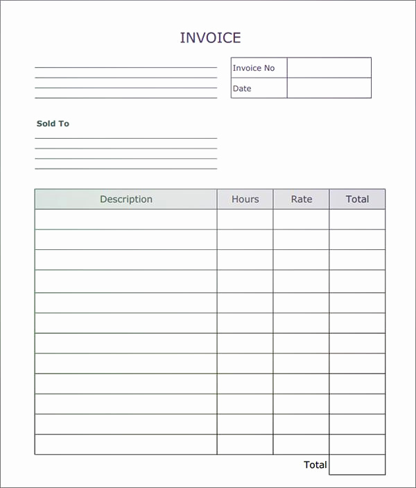 Free Invoice Template Microsoft Word Inspirational Fillable Invoice Blank In Pdf