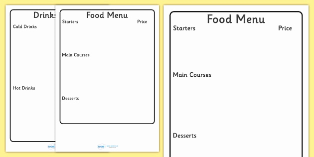 Free Kid Menu Template Awesome Editable Menu Writing Frame Editable Editable Menu