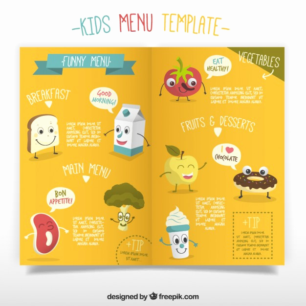 Free Kid Menu Template Best Of Kids Menu Template with Enjoyable Foodstuffs Vector