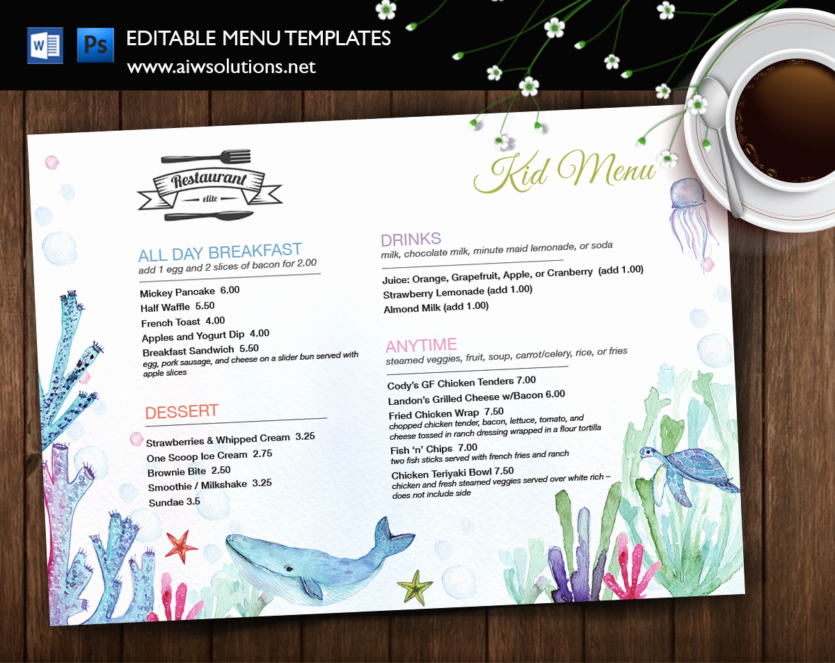 Free Kid Menu Template Elegant Design & Templates Menu Templates Wedding Menu Food