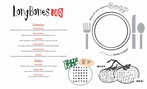 Free Kid Menu Template Elegant Kids Menu Kid Menu Designs Kid Menu Templates