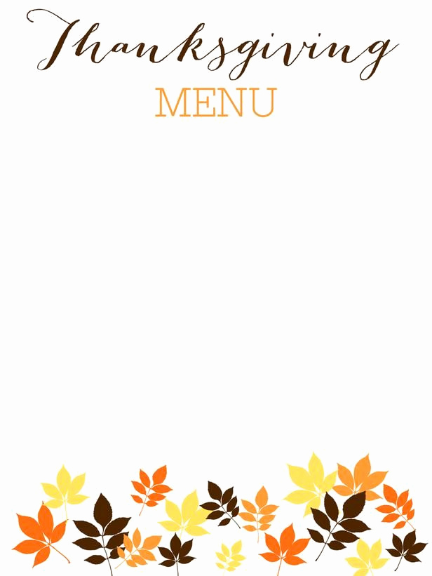 Free Kid Menu Template Fresh 31 Printable and Free Thanksgiving Templates In 2019