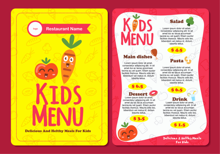 Free Kid Menu Template Fresh Cute Colorful Kids Menu Template Download Free Vectors