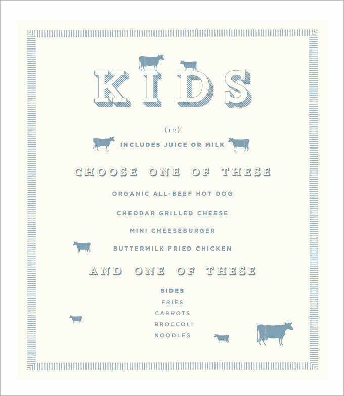 Free Kid Menu Template Fresh Kids Menu Template 27 Free Psd Eps Documents Download