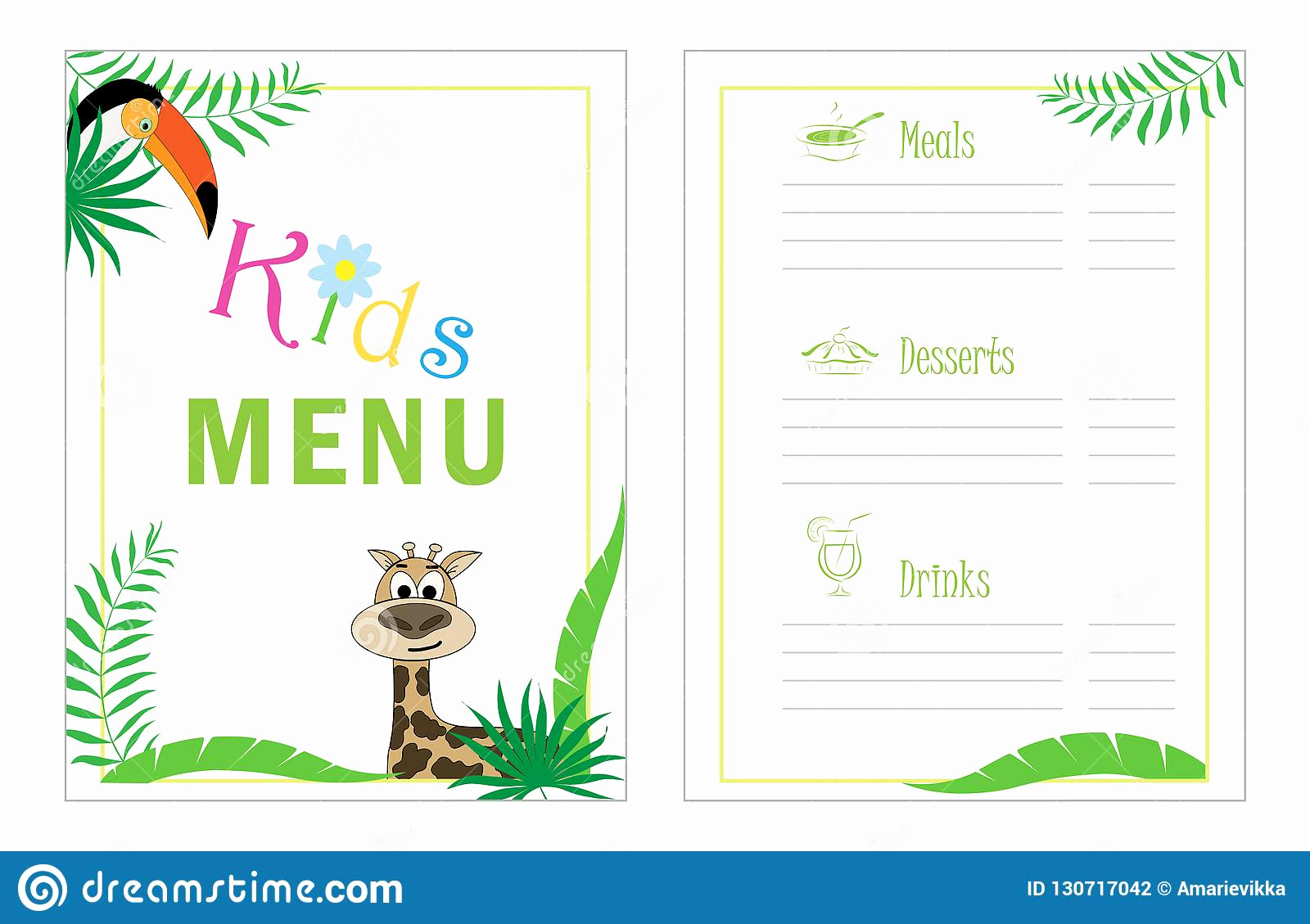 Free Kid Menu Template Lovely Childrens Menu Template Cafe Menu Design for Kids Kid