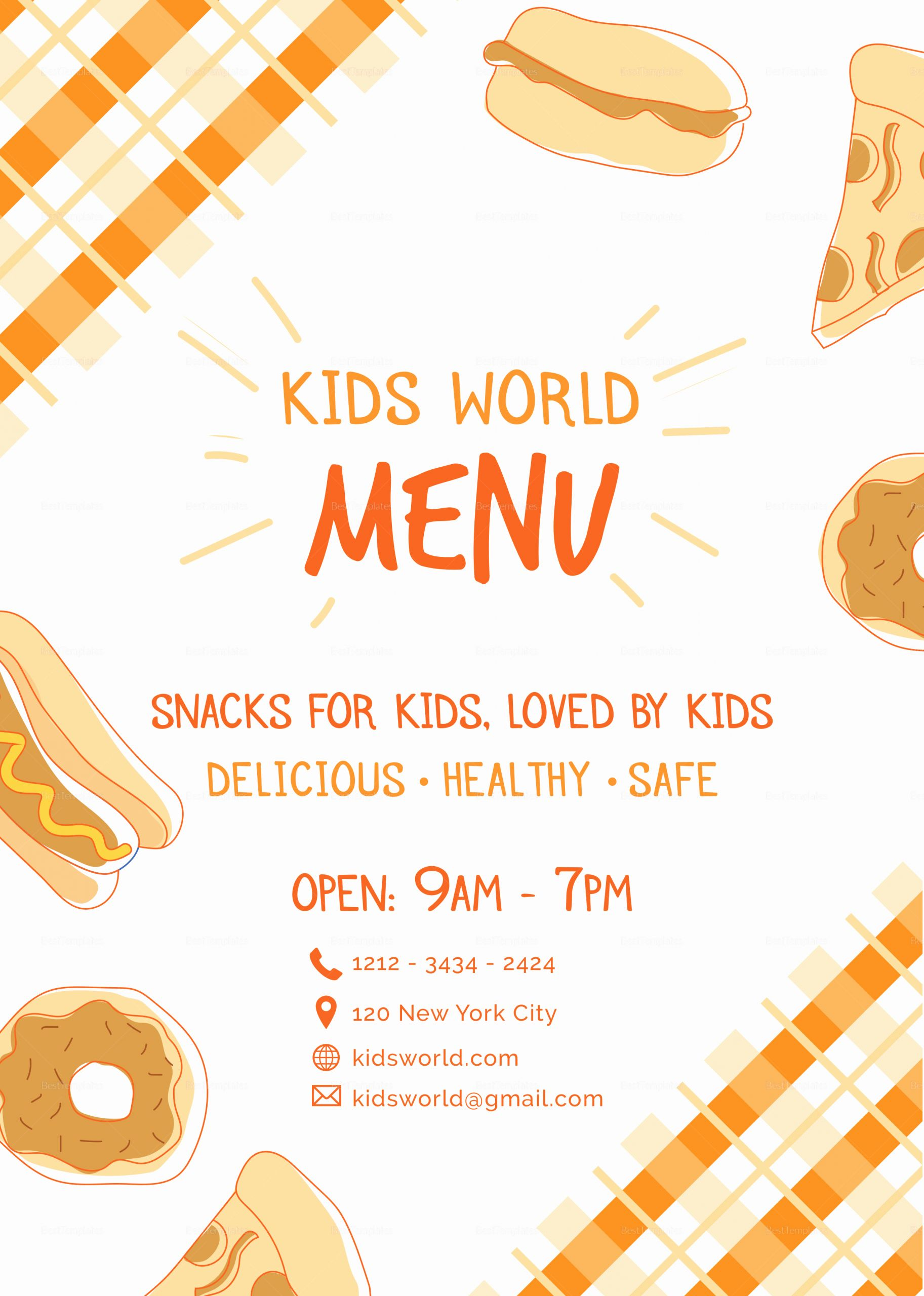 Free Kid Menu Template Lovely Kids Menu Design Template In Psd Word Publisher