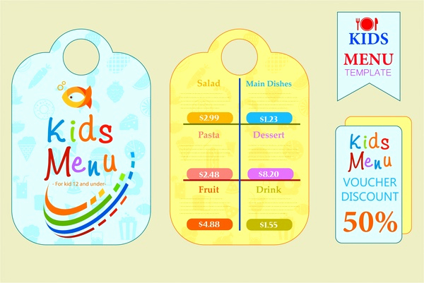 Free Kid Menu Template Lovely Kids Menu Sets Design with Colorful Cute Styles Free