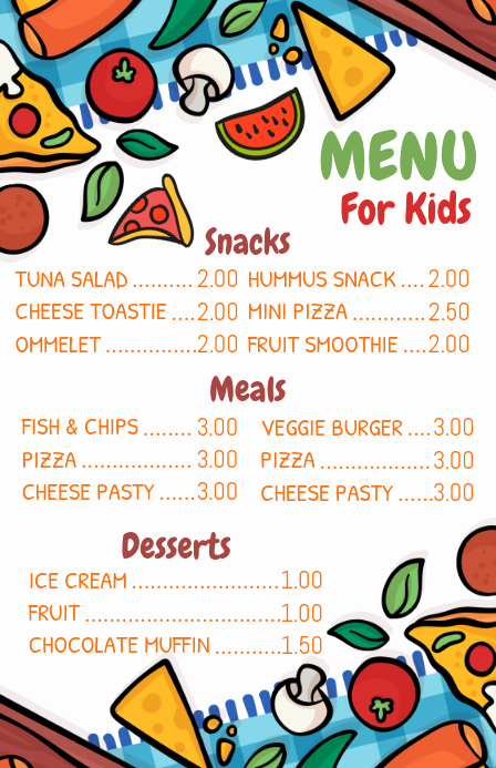 Free Kid Menu Template Luxury Kid S Menu Template