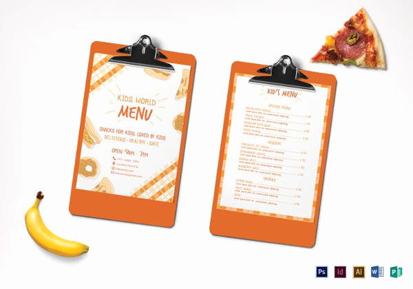 Free Kid Menu Template Luxury Kids Menu Template 27 Free Psd Eps Documents Download