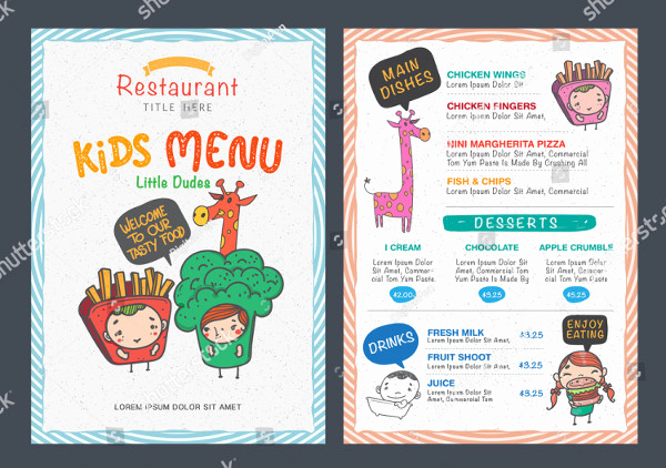 Free Kid Menu Template Luxury Printable Kids Menu Template 27 Free & Premium Download