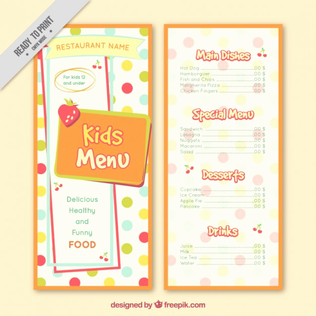 Free Kid Menu Template New Dotted Kids Menu Template Vector