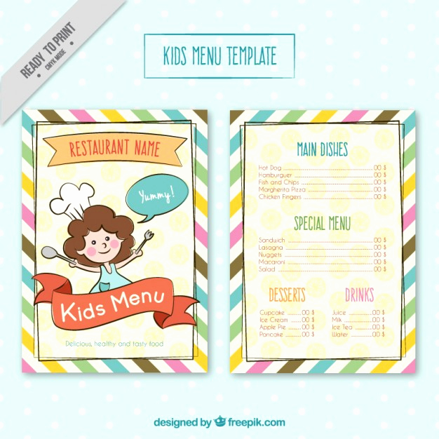 Free Kid Menu Template New Kids Menu Template with Colores Stripes