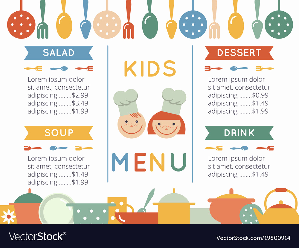 Free Kid Menu Template Unique Kids Menu Template Royalty Free Vector Image Vectorstock