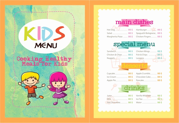 Free Kid Menu Template Unique Printable Kids Menu Template 27 Free & Premium Download