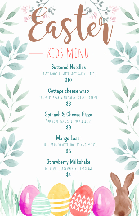 Free Kids Menu Template Awesome Copy Of Easter Children S Menu Design