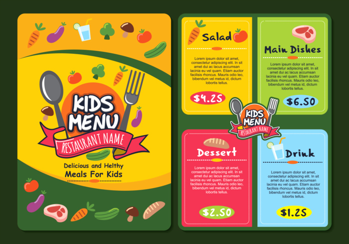 Free Kids Menu Template Awesome Cute Colorful Kids Menu Template Download Free Vectors