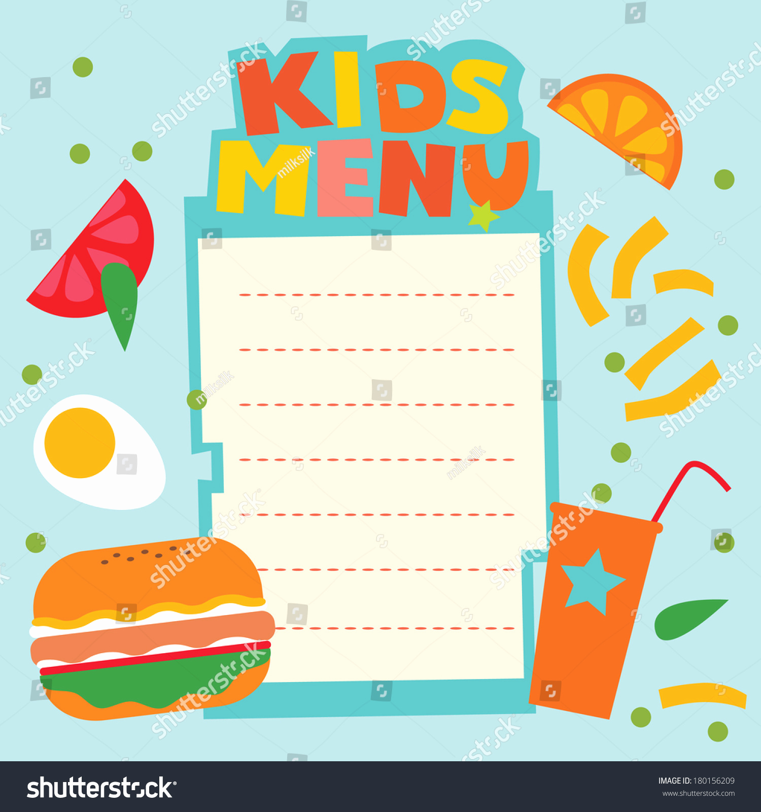 Free Kids Menu Template Beautiful Kids Menu Template Stock Vector Shutterstock