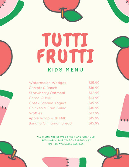 Free Kids Menu Template Beautiful Kids Menu Templates Canva