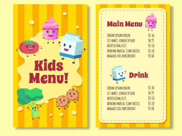 Free Kids Menu Template Best Of 9 Free Menu Templates