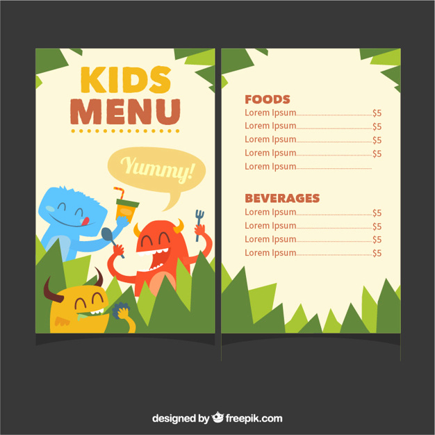 Free Kids Menu Template Best Of Kids Menu Template with Cute Monsters Vector