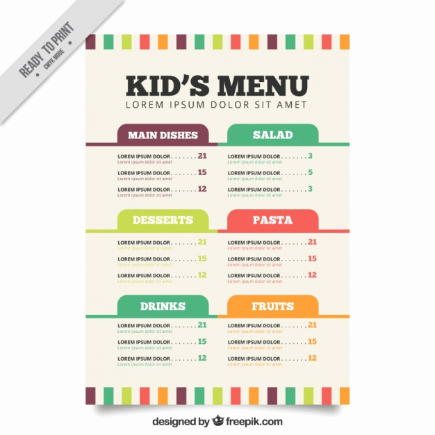 Free Kids Menu Template Fresh Flat Menu Template for Kids Vector