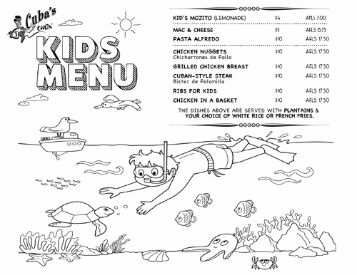 Free Kids Menu Template Fresh Kids Menu