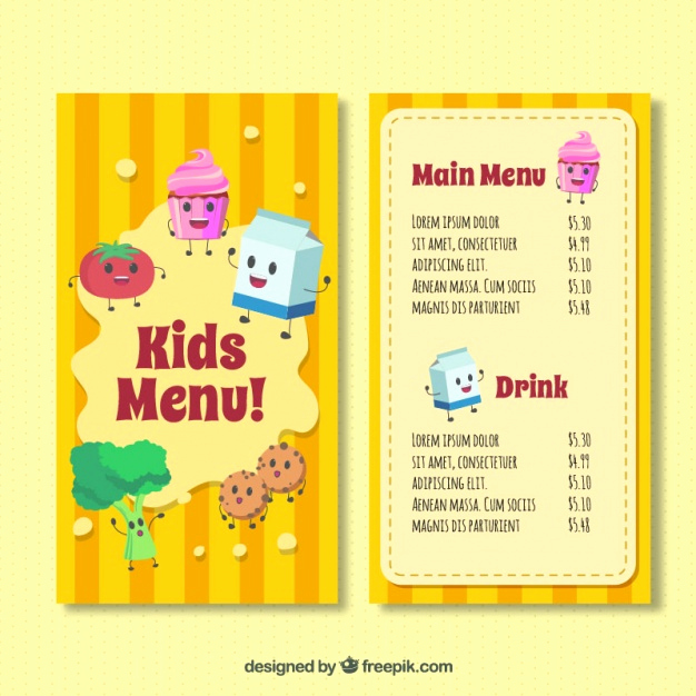 Free Kids Menu Template Inspirational Kid S Menu Template with Happy Ingre Nts Vector