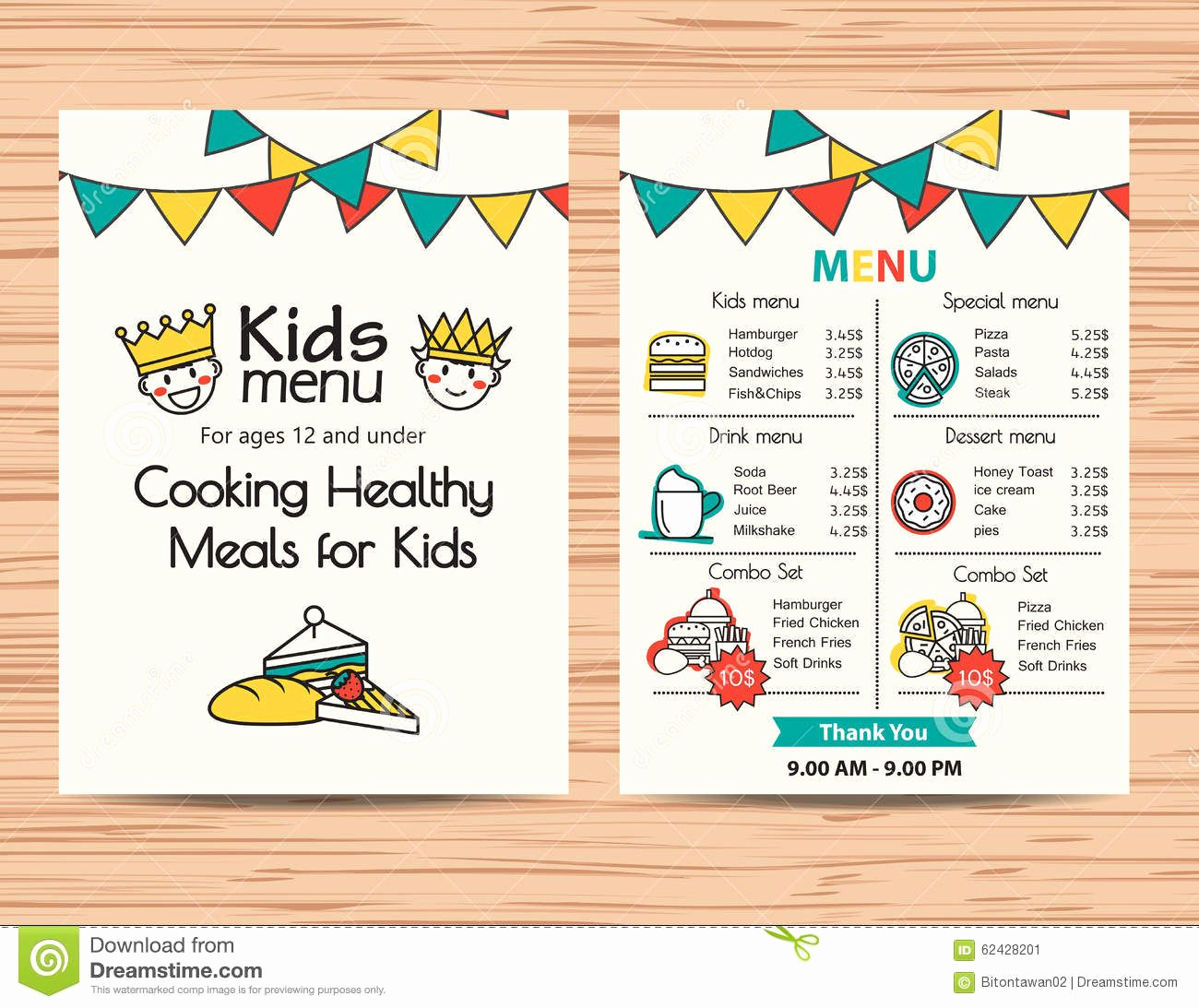 Free Kids Menu Template Inspirational Kids Meal Menu Vector Template Restaurant Menu Design