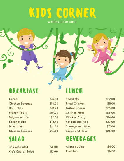Free Kids Menu Template Luxury Customize 95 Kids Menu Templates Online Canva