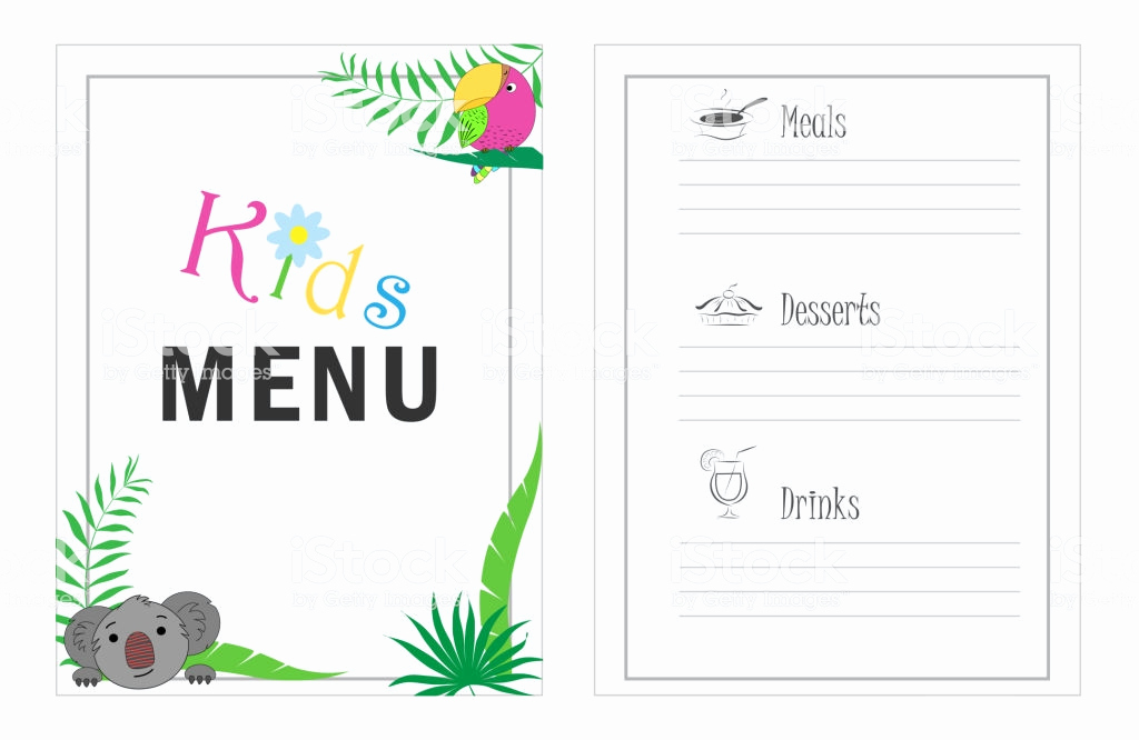 Free Kids Menu Template New Childrens Menu Template Cafe Menu Design for Kids Kid Menu
