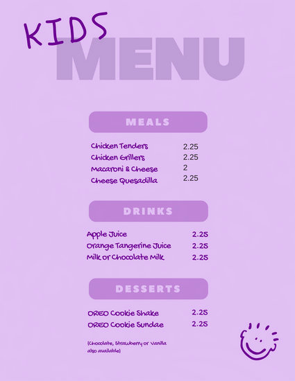 Free Kids Menu Template New Customize 95 Kids Menu Templates Online Canva