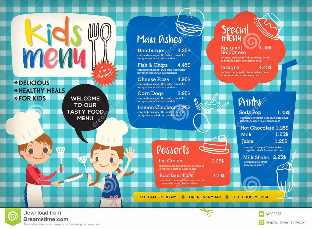 Free Kids Menu Template Unique Cute Colorful Kids Meal Menu Template Stock Vector